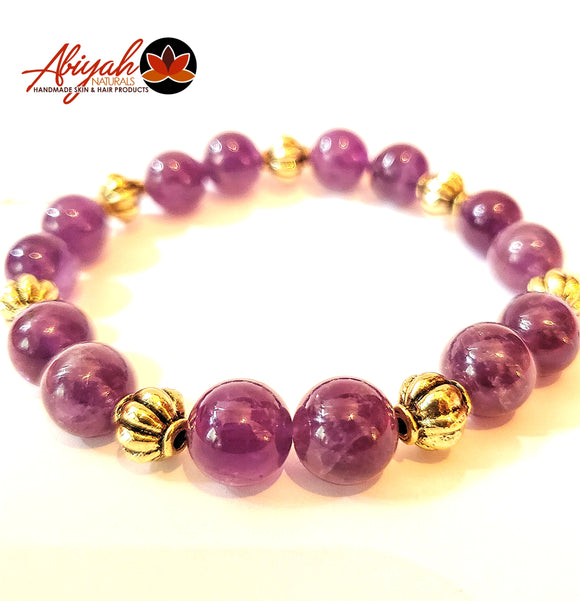 Amethyst and Gold Metal Bead Bracelet