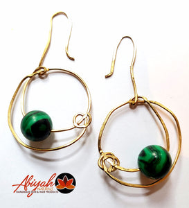 Malachite & Hammered Brass Earrings