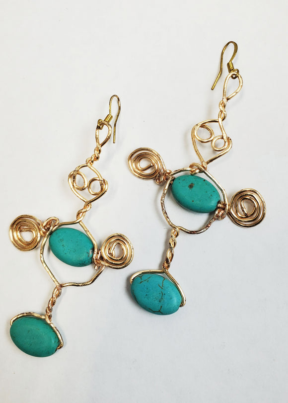 Turquoise & Brass Wire Swirl Earrings