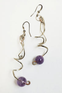 Amethyst & Silver Wire Earrings