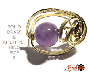 Brass & Amethyst Ring