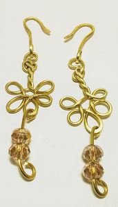 Brass Wire Chandelier Earrings