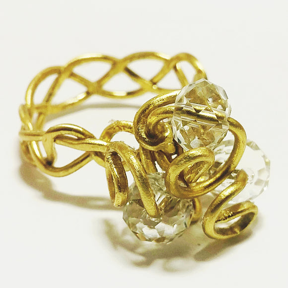 Brass Wire and Crystal Ring: PLUS SIZE 11/12