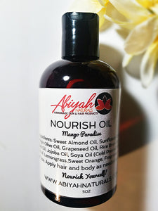 NOURISH- Mango Paradise Scent: Hair and Body Oil 5 OZ