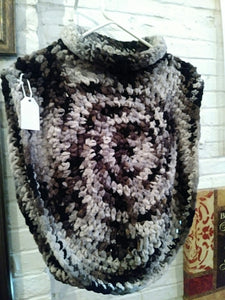 Black/Gray and White Pullover Poncho