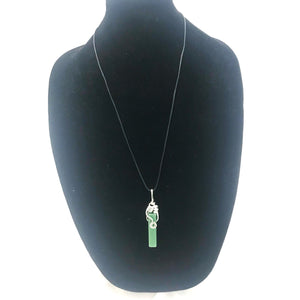 Green Aventurine & Hammered Aluminum Pendant Necklace