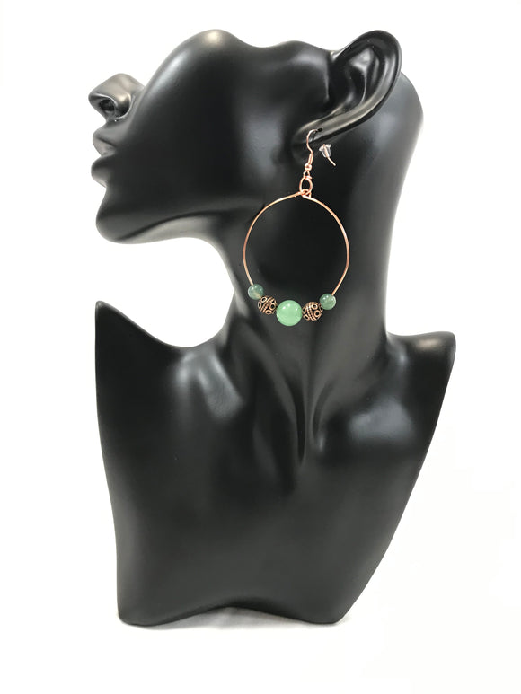 Green Aventurine & Fancy Jasper Hoop Earrings