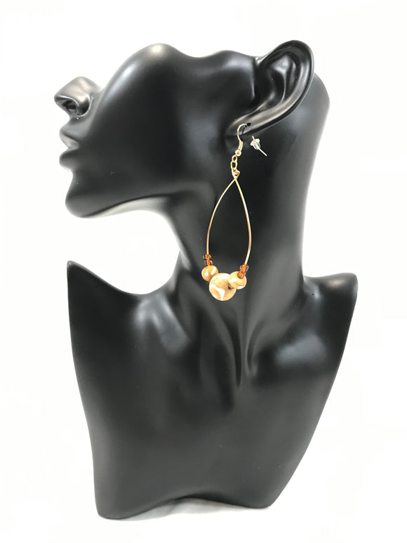 Genuine Bone & Glass Bead Earrings