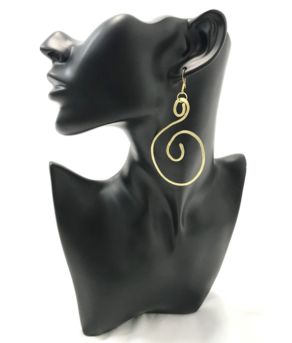 Hammered Brass Spiral Earrings