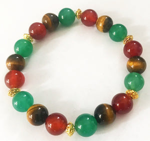 Tiger's Eye, Green Aventurine, & Red Agate Bead Bracelet