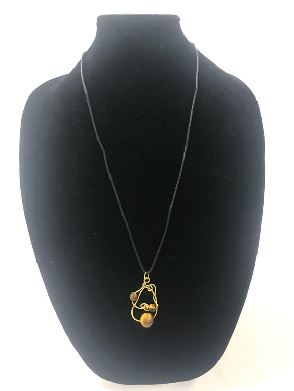 Tiger's Eye & Hammered Brass Pendant Neckace