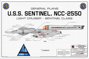 Light Cruiser, U.S.S. Sentinel NCC-2550, Sentinel class starship: General Plans