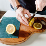 cutting a lemon for beeswax wrap storage