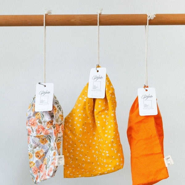 Produce Bags: Golden Floral Set of 3