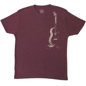 T-shirt Male Guitar (Burgundy)