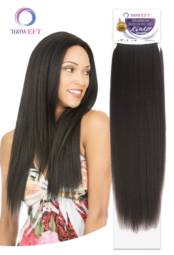360 WEFT - Brazilian Knot Weft Kinky Straight 100% Human Hair Remi 18 Inch 11 Wefts BKWHKS18(11) 360 WEFT Weaves