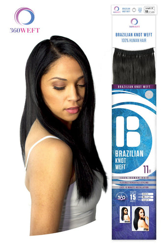 360 WEFT - Brazilian Knot Weft Straight 100% Human Hair Remi 14 Inch 11 Wefts BKWH14(11) 360 WEFT Weaves