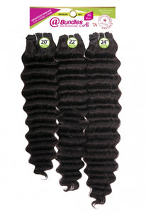 "Ali @ 7A Brazilian Bundle 3pcs - Human Hair Weave - New Deep 14+16+18"" (Natural Black) - AB3N3"