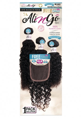 Ali N Go 7A Unprocessed Virgin Human Hair BOHEMIAN WAVE 3PCS + 4x4Closure (20+22+24)+14 - AG344B6
