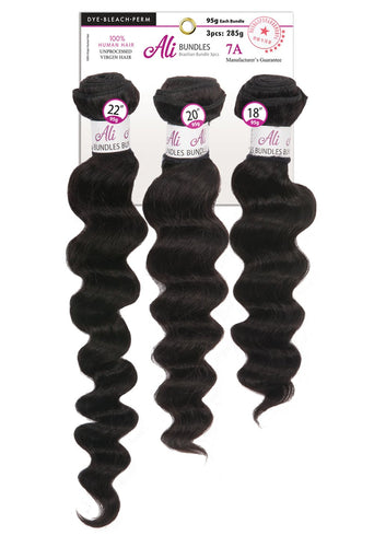 ALI Brazilian Bundle 3pcs - Loose Deep Wave 12+14+16 100% Human Hair Remi 7A Weave (Natural Black) BB3L3 Human Hair Remi Weaves