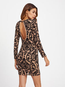 Damask Print Keyhole Back Bodycon Dress Womens Clothing