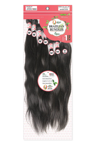 O-Remi Brazilian Bundles - 6Pc Natural Wave 100% Human Hair Remi + Top Closure 10 12 BV6N0 Human Hair Remi Weaves