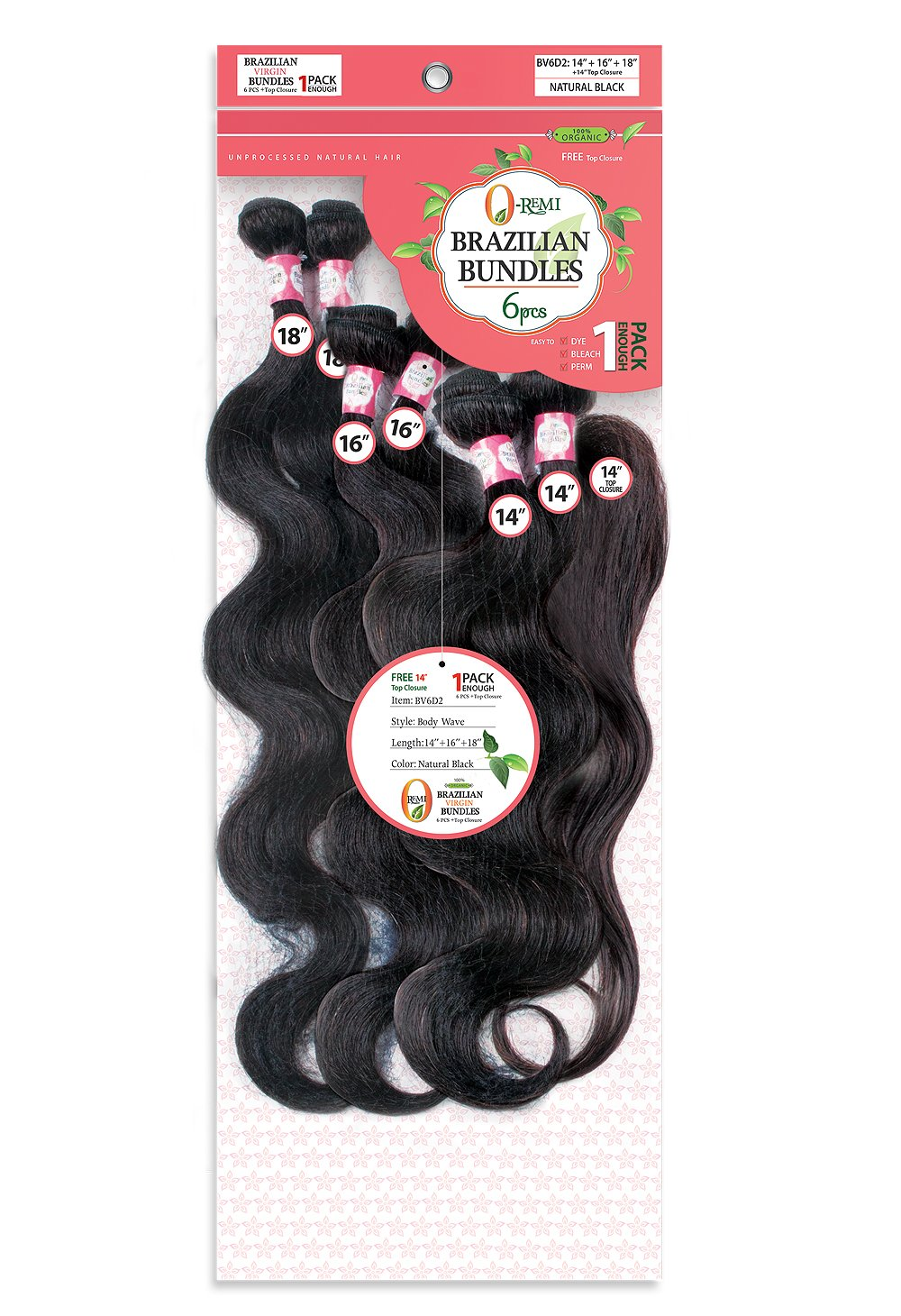 O-Remi Brazilian Bundles - 6Pcs Bundle - Body Wave 100% Human Hair Remi + Top Closure 10+12 BV6D0 Human Hair Remi Weaves