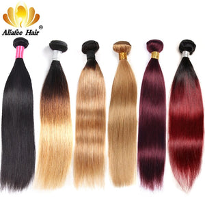 Aliafee Brazilian Straight Hair Weave Bundles Ombre Human Hair Bundles #1b/#2/#4/#99/#27 Non Remy1/3/4 Pieces Hair Extension