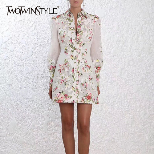 TWOTWINSTYLE Flower Embroidery Dress - TDR20859