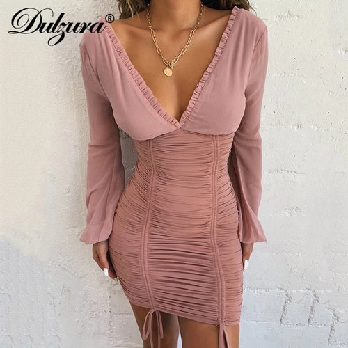 Dulzura 2019 autumn winter women mini dress long sleeve drawstring ruffle bodycon clothes party elegant dinner mesh bandage