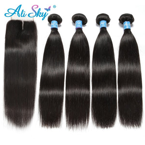 "Indian Straight Hair Bundles 4 Bundles With Closure Human Hair Bundles With Closure Ali Sky 4""x4"" Top Lace Closure Non Remy"