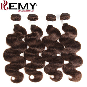 Medium Brown Body Wave Human Hair Weave Bundles KEMY HAIR 100% Brazilian Human Hair Extensions 3/4PCS Non- Remy Hair Bundles