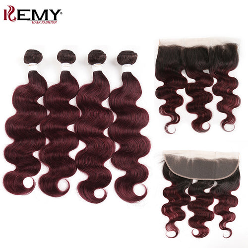 Body Wave Hair Weave Bundles With Lace Frontal 13*4  KEMY HAIR Brazilian Ombre Color 1B/99J Non Remy Hair Weaving