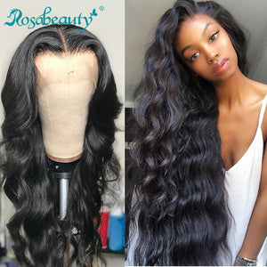 Rosabeauty 8- 28 30 inch Brazilian Body Wave Long 13x6 Lace Front Human Hair Wigs HD Transparent and 360 Lace Frontal Wigs