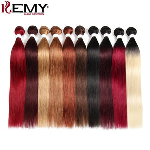 Brazilian Straight Human Hair Bundles KEMY HAIR 8-26 Inch Human Hair Weave Bundles Non-Remy Hair Extensions Can Buy 1/3 Bundles