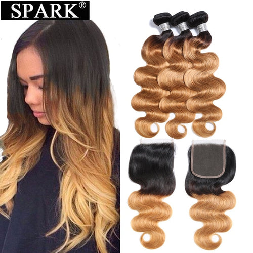 Spark Ombre Brazilian Body Wave Human Hair Bundles with Lace Closure Free Part Remy Hair Human Hair Weave 3 Bundles with Closure