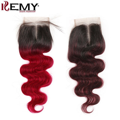 4*4 Lace Closure 99J/Burgundy Brazilian Body Wave Human Hair KEMY HAIR Free/Middle/Three Part Swiss Lace Closure Non-Remy Hair