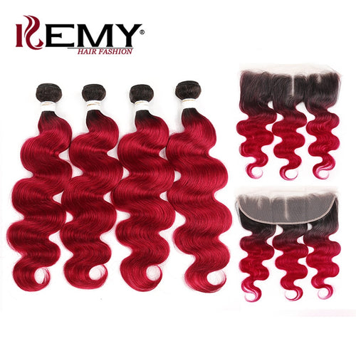 T1B/Burg Two Tone 4 Bundles With Frontal KEMY HAIR Brazilian Body Wave Human Hair Weaves Non Remy Hair Bundles With Closure