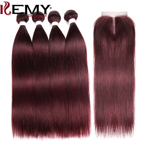 99J/Burgundy Brazilian Straight Human Hair Bundles With Closure 4*4 KEMY HAIR  Pre-Colored 100% Hair Weaving 4PCS Non-Remy Hair