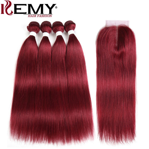 99J/Burgundy Red Color Human Hair Bundles With Closure 4*4 KEMY HAIR Brazilian Straight Human Hair Weave Bundles Non Remy Hair