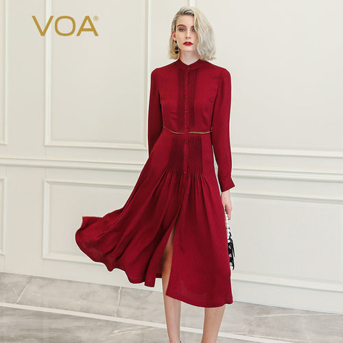 VOA Red Wine Silk Dress - A10082