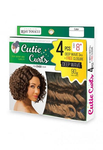 Remi Touch 4pcs Double Pack-Deep Wave 8 with Top Closure Human Hair Weaves