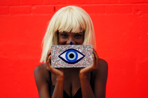 Silver Glitter Evil Eye Clutch Bags & Wallets