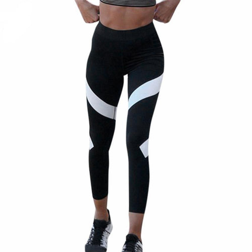 Stripped Leggings Splice Skinny Workout Gym - High Waisted Ankle-Length Pants yoga pants