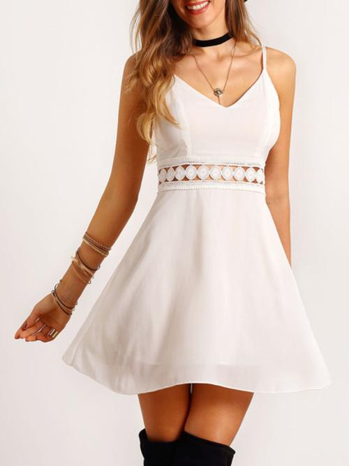 White Spaghetti Strap Lace Slim Dress Womens Clothing