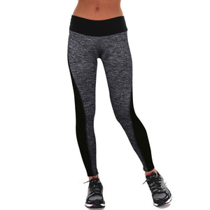 WORKOUT & FITNESS LEGGINGS - PATCHWORK HIGH WAIST LEGGINGS Silver / L leggings for women