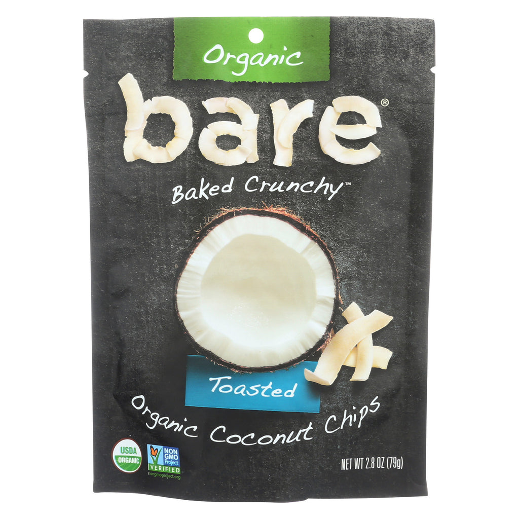 Bare Fruit Organic Coconut Chips - Toasted - Case of 12 - 2.8 oz