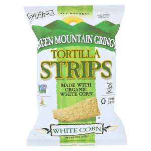 Green Mountain Gringo Tortilla Strips - White Corn Organic - Case of 12 - 8 oz.