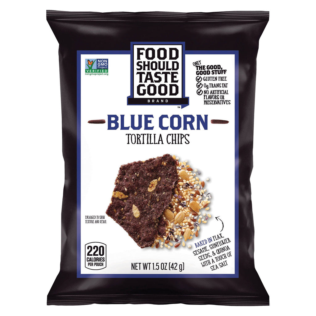 Food Should Taste Good Blue Corn Tortilla Chips - Blue Corn - Case of 24 - 1.5 oz.