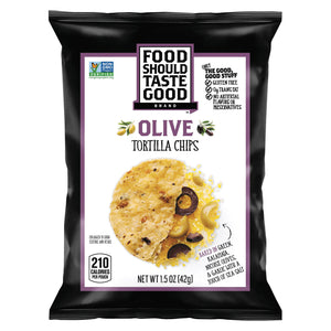 Food Should Taste Good Olive Tortilla Chips - Olive - Case of 24 - 1.5 oz.